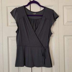 Slate grey wrap front top, worn once!